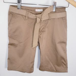 Girl's NEW Belted Kahki Shorts Size 6X 7